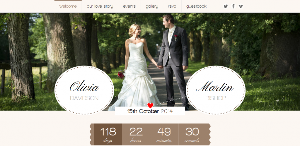 one page responsive wedding theme