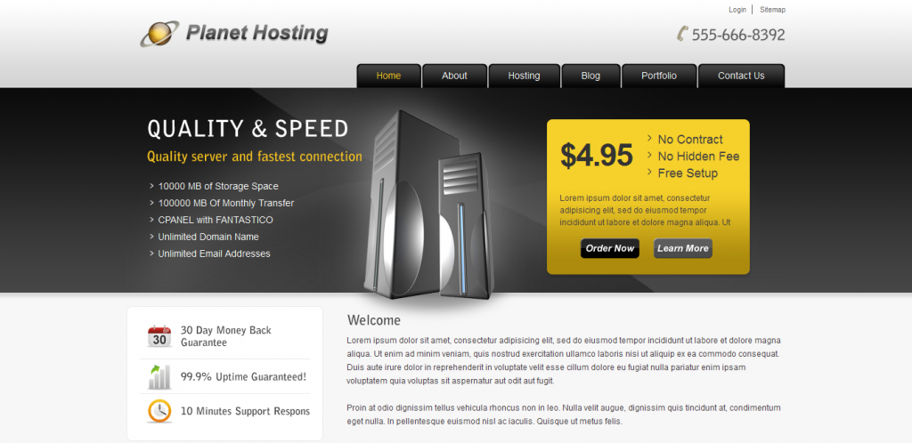 Custom Hosting WordPress Theme