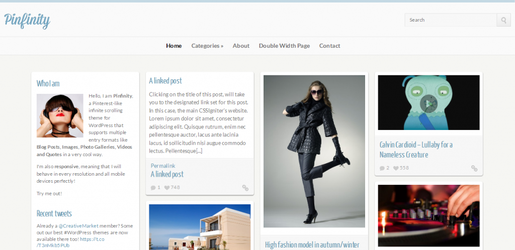Pinterest Design WordPress Theme
