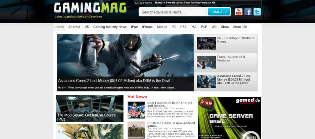 WordPress Gaming magazine theme