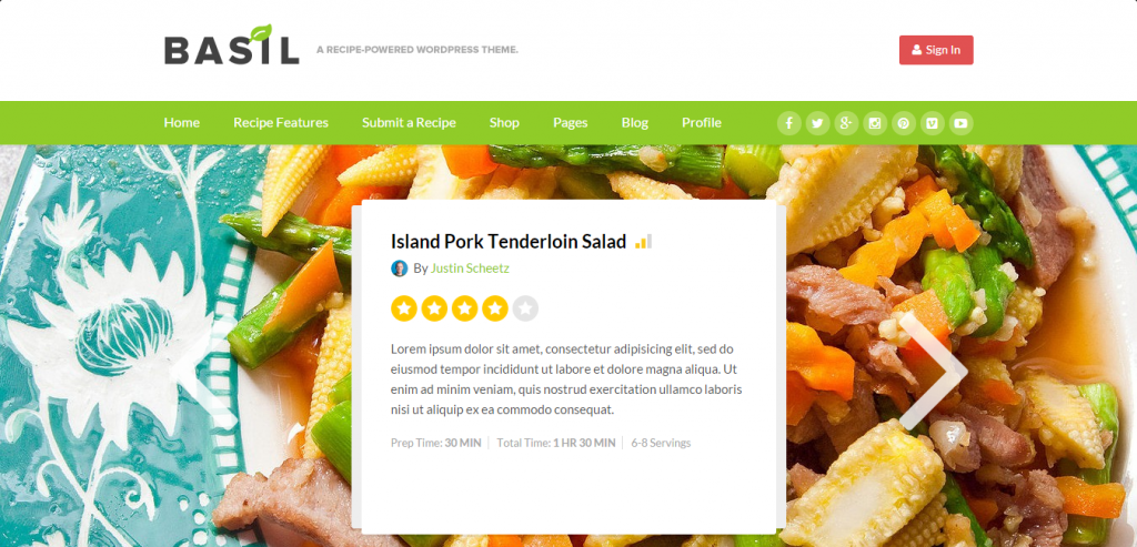 Buy Recipe and Food WordPress Theme