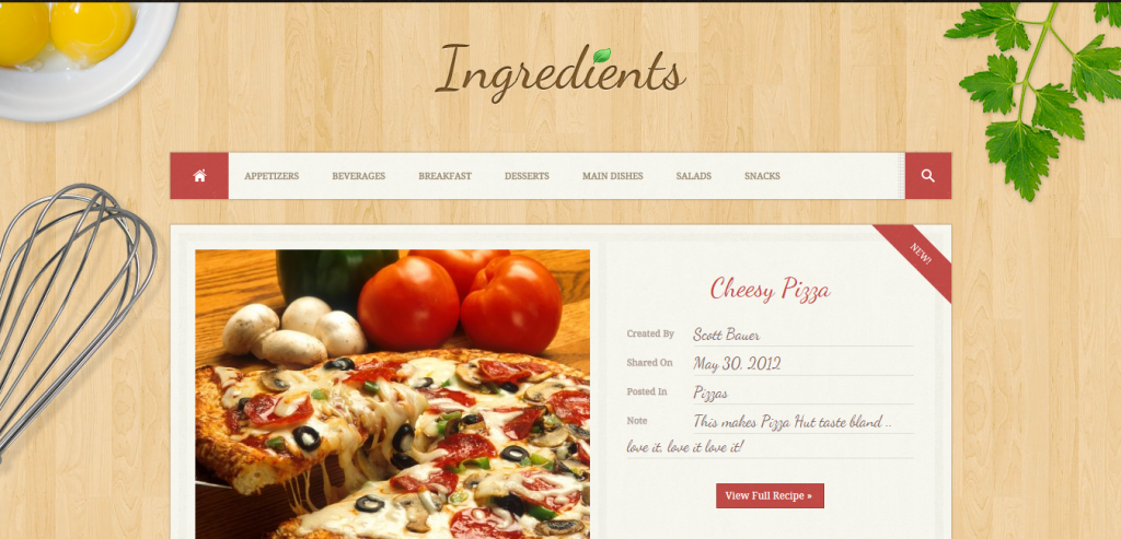 Free Recipe and Food WordPress Themes