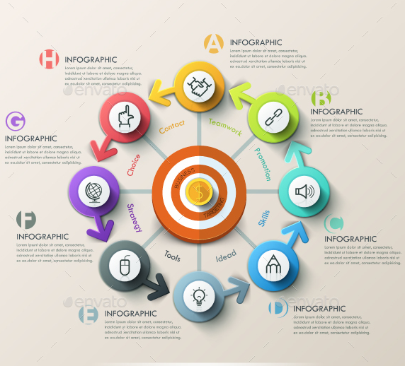 Modern Infographic Target Marketing Concept (4 Items)