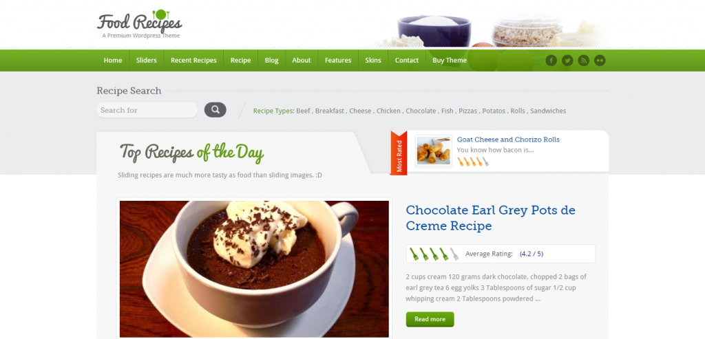 Top Recipe and Food WordPress Themes