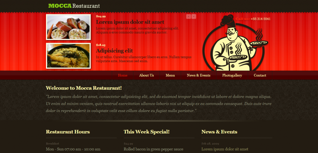 Buy HTML Restaurant Templates
