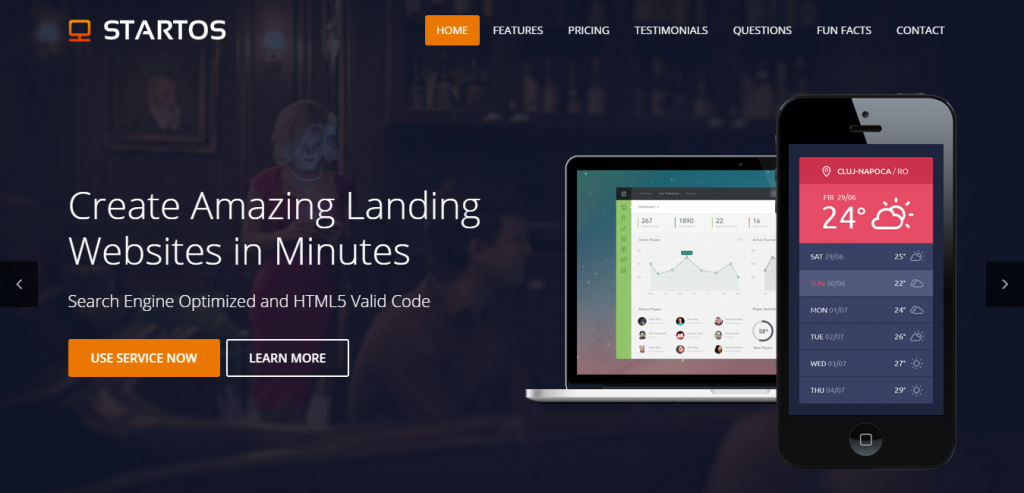 Fluid Simple Landing Page HTML Templates