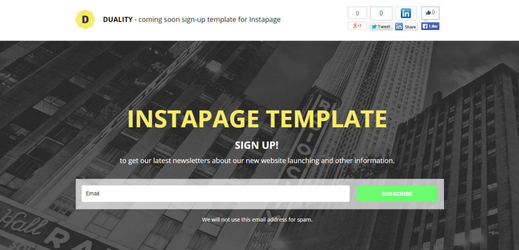 Free Instapage Landing Page Themes