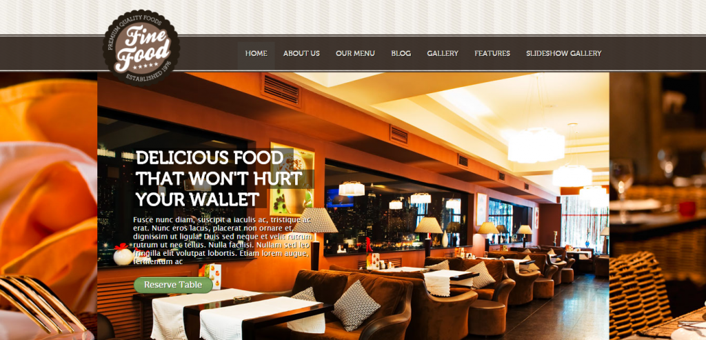 New Restaurant HTML Themes