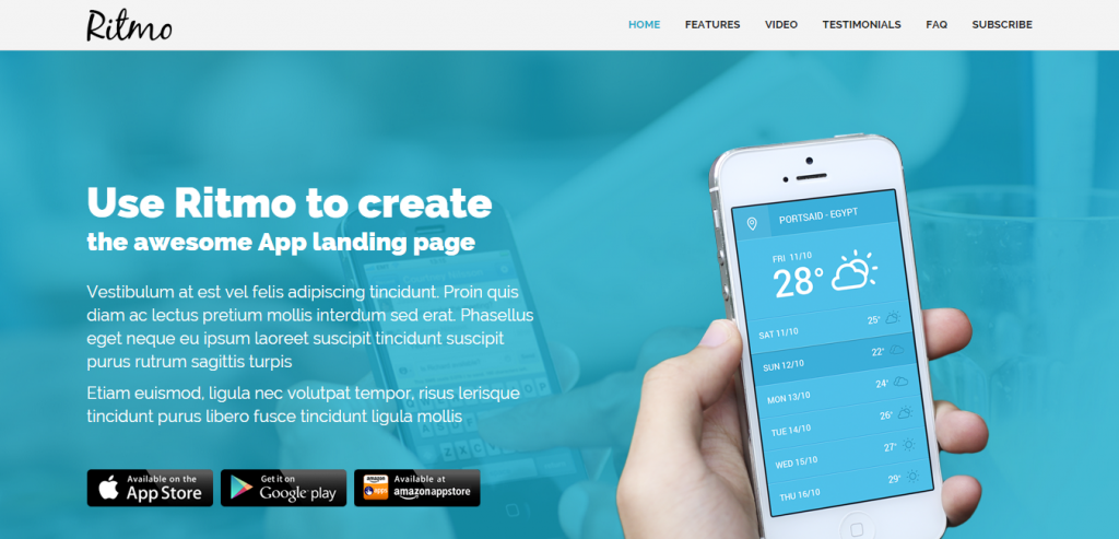Responsive Simple Landing Page HTML Template