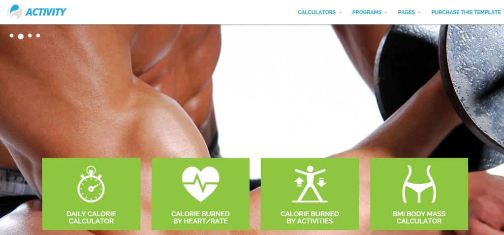 Activity   Calories calculators and sport activity site template