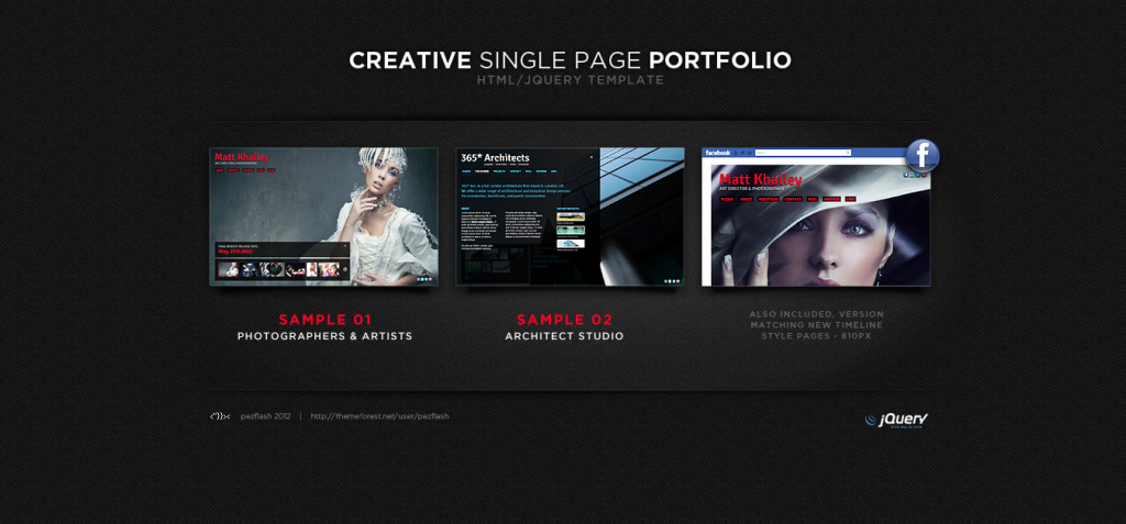 Creative Single Page Portfolio   Html jQuery template by pezflash