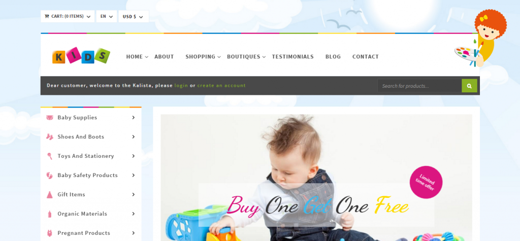 Kalista Kids Store WooCommerce WordPress Theme