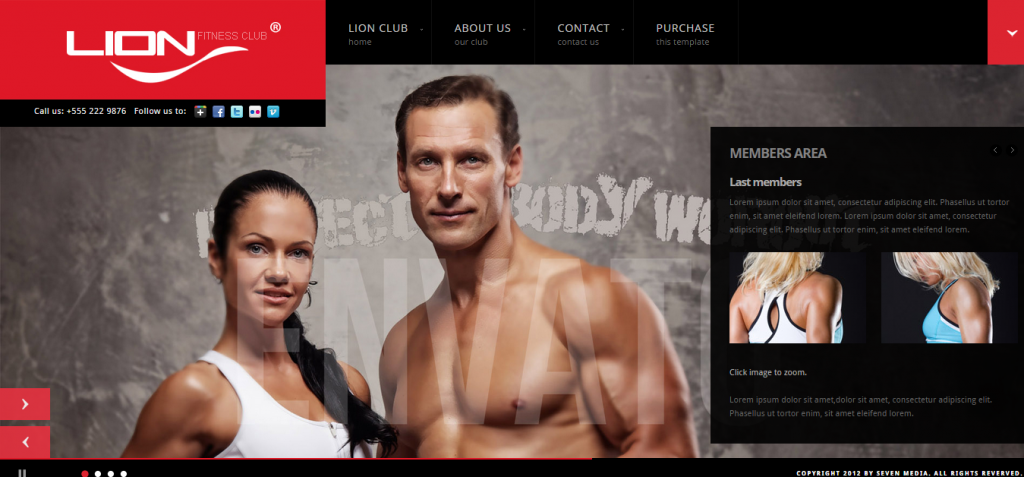 Lion Fitness Club Template