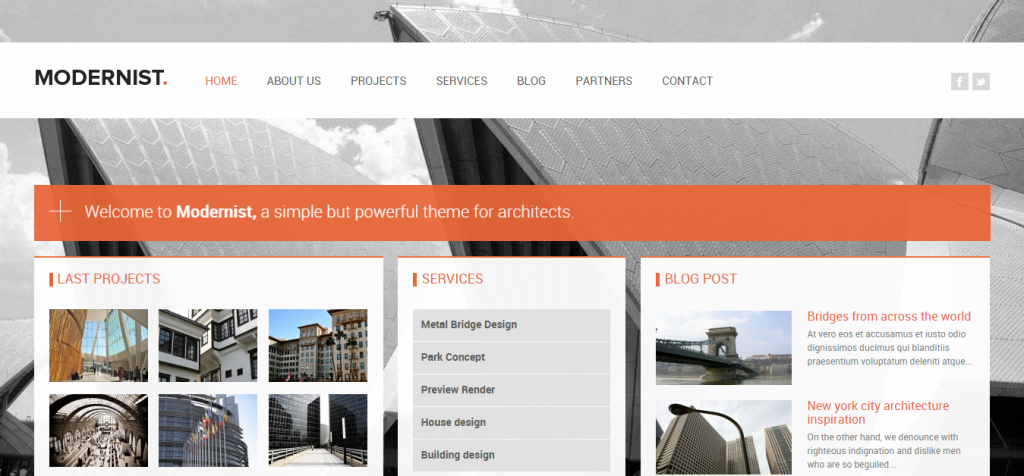 Modernist Architecture WordPress Themes