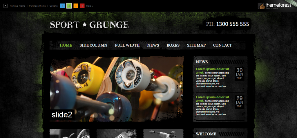 Sport and Grunge   Adrenaline Sports HTML   PSD template.