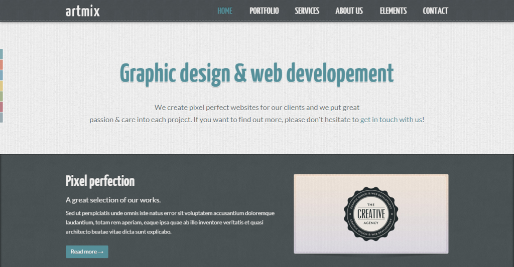 Artmix Responsive Retina Ready One Page Template