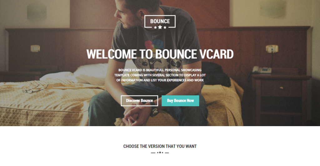BOUNCE Responsive One Page Vcard Template