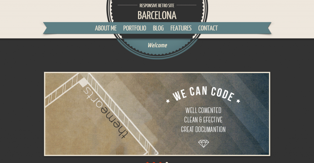 Barcelona Responsive One Page Retro Template
