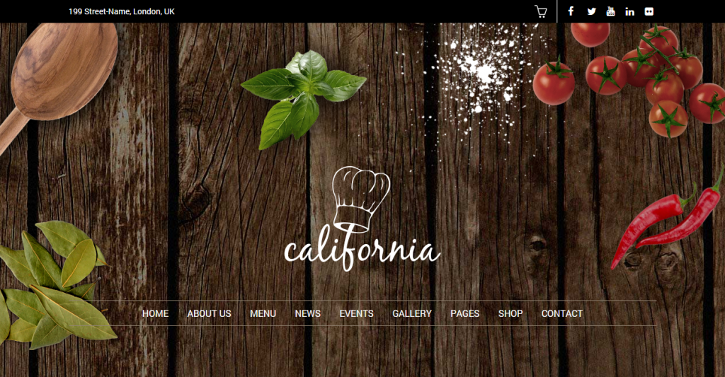 California Restaurant Hotel Shop WordPress Theme