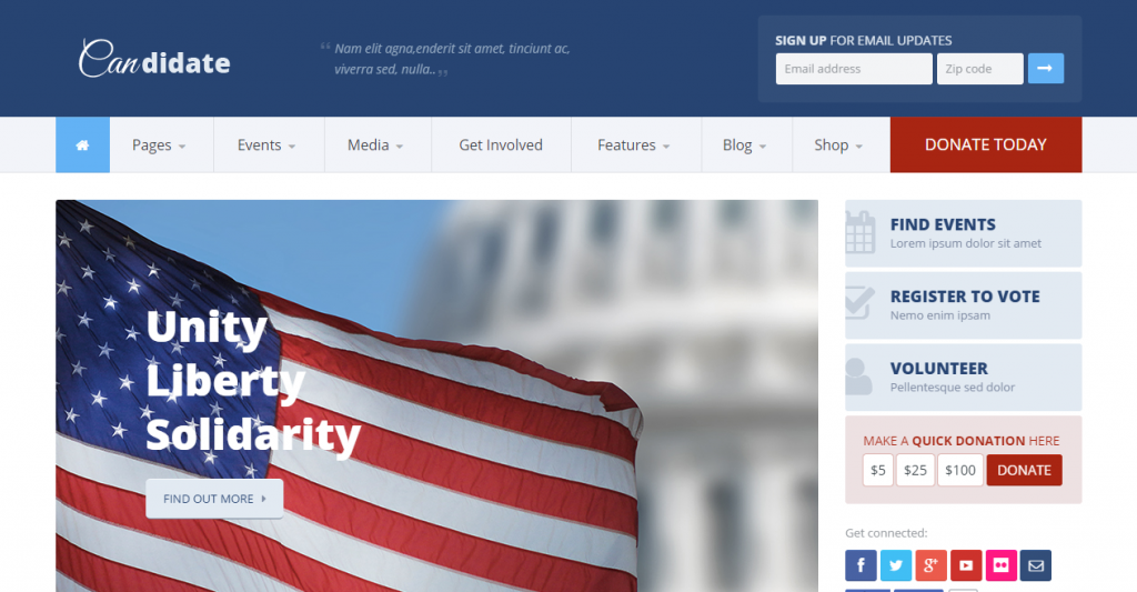 Candidate PoliticalNonprofit HTML Theme