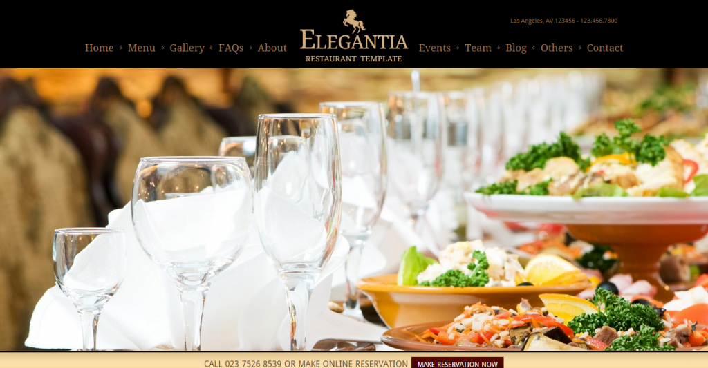 Elegantia Restaurant and Cafe WordPress Theme