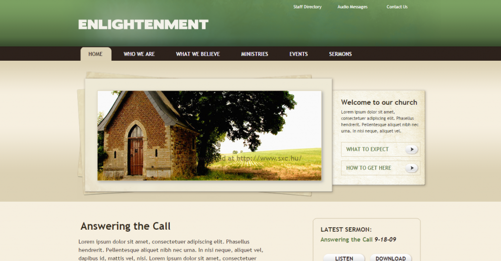 Enlightenment Church Site Template