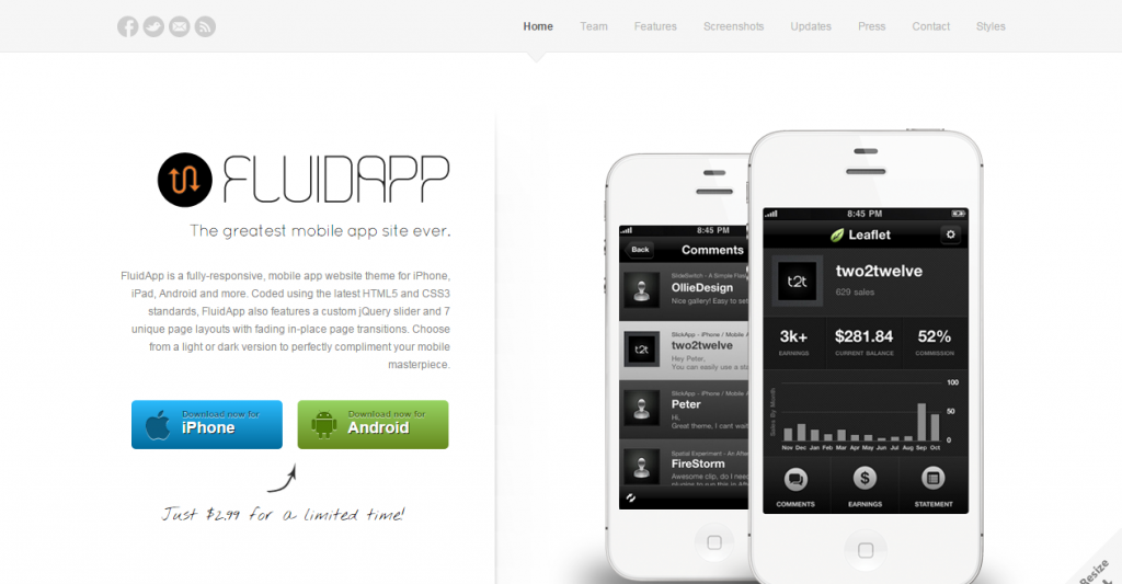 FluidApp Responsive Mobile App Website Template