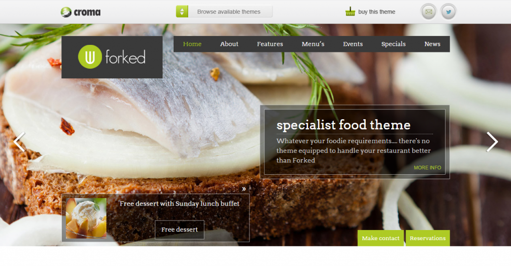 Forked Responsive Restaurant & events