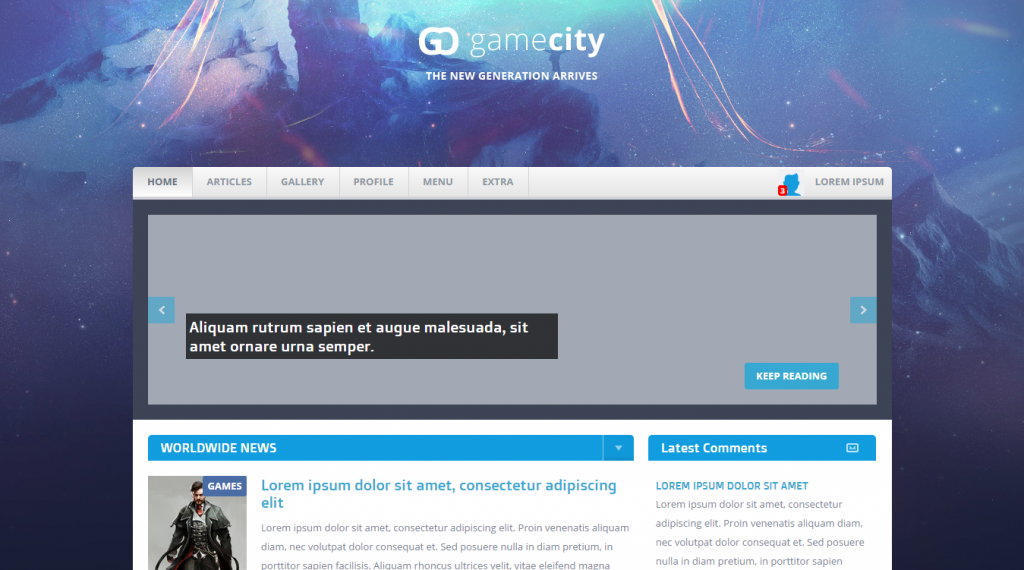 GameCIty Flat & Responsive Gaming Template