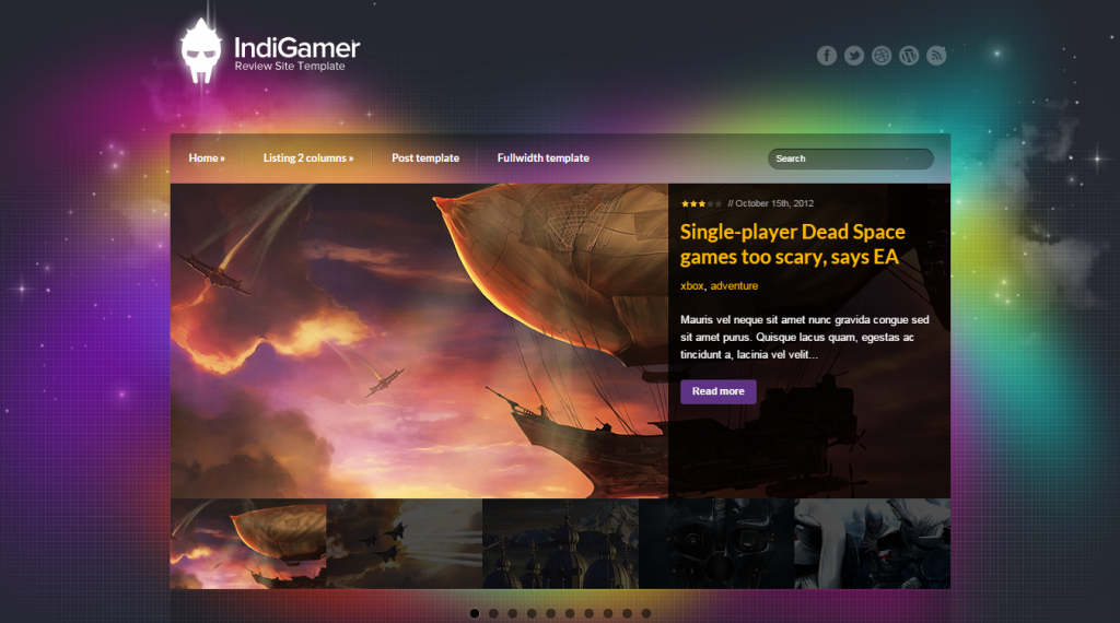 Indigamer Responsive Review Site Template