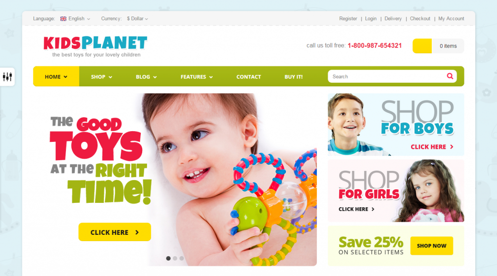 Kids Planet Responsive Ecommerce Blog HTML Theme
