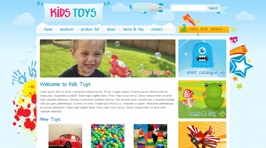 Kids Toys 9 Page HTML Site Shopping Cart