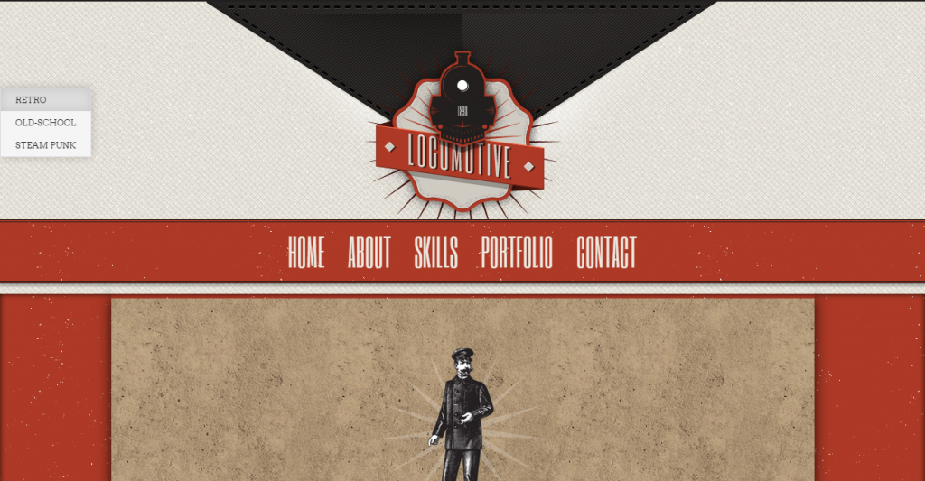 Locomotive One Page Vintage Portfolio Template