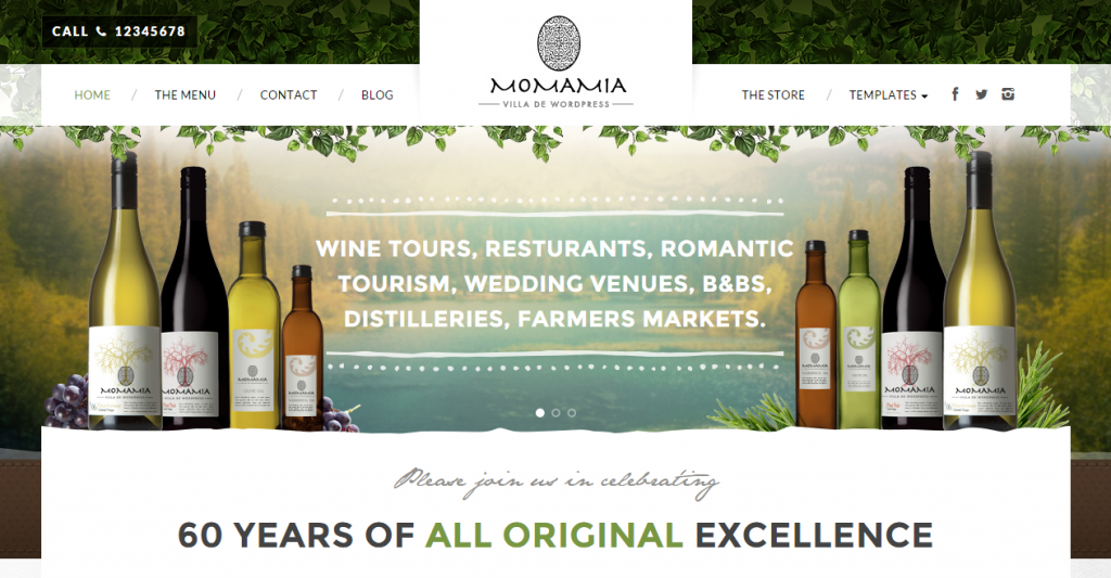 Momamia Restaurant & Winery WooCommerce WP Theme