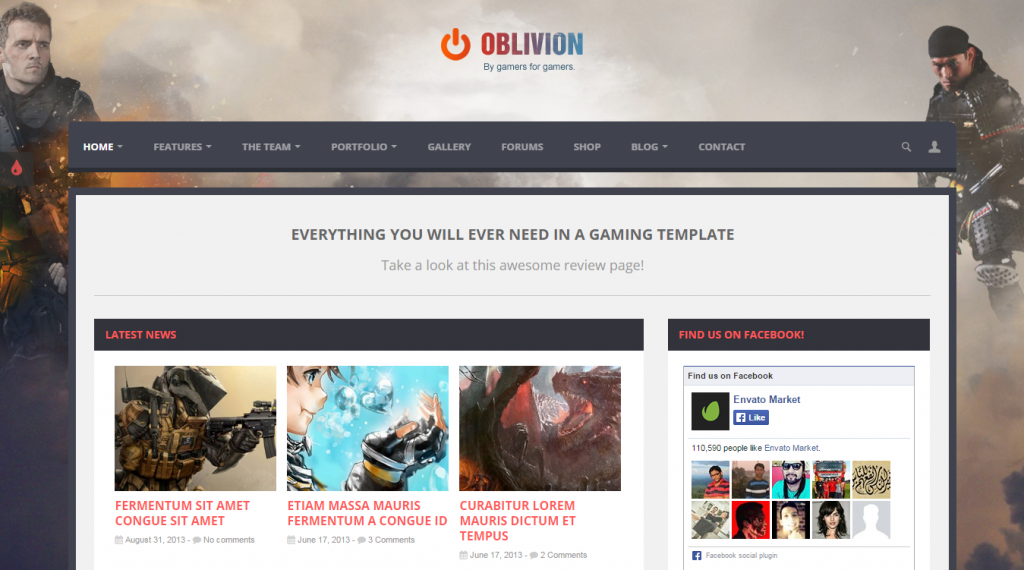 Oblivion The Multi-Purpose Gaming Template