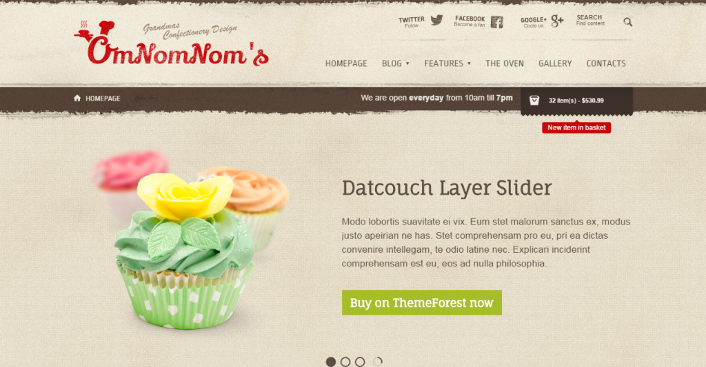 Omnomnom's Bakeries HTML Template