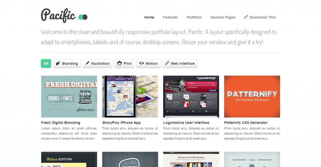 Pacifico A Clean, Responsive Portfolio Layout