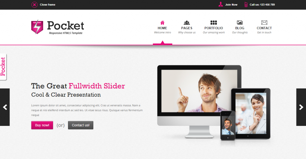 Pocket Responsive HTML5 Theme
