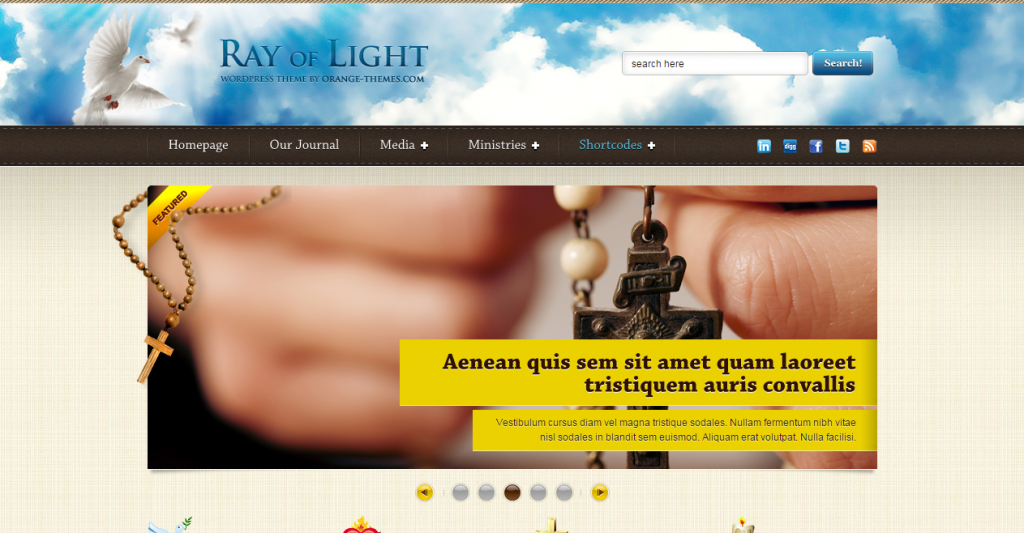 Ray Of Light Theme For Religious Movements HTML