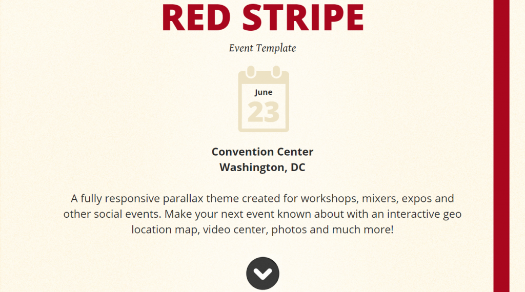 Red Stripe Responsive Parallax Event Site Template