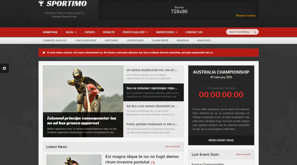 Sportimo Sport & Events Magazine HTML Template