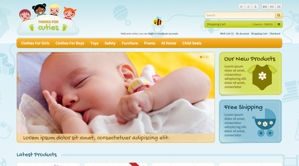 Things For Cuties Premium Responsive Kids Baby Related Commerce Template