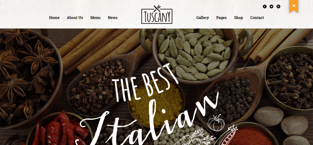 Tuscany Restaurant Shop Creative WordPress Theme