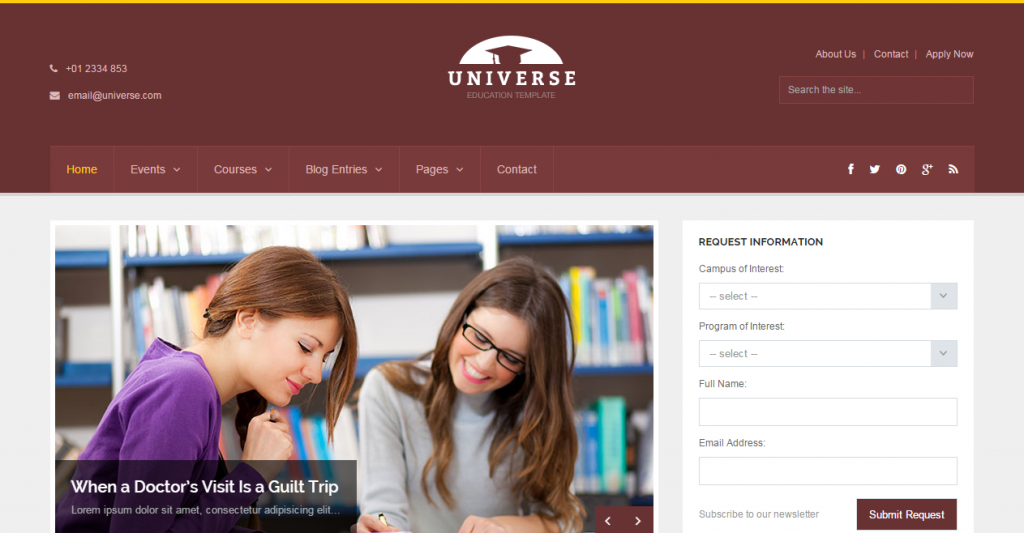 Universe Education College Responsive Template