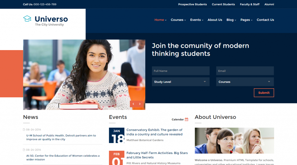 Universo Educational Course and University Template