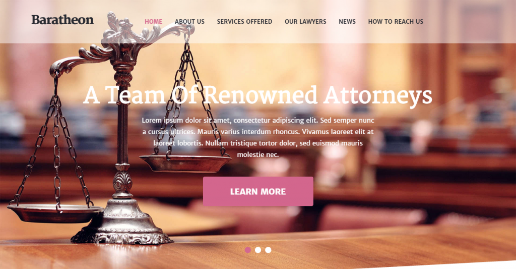 Baratheon One Page Law Firm HTML Template