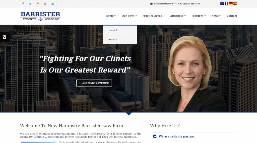 Barrister Responsive Law Business HTML5 Template