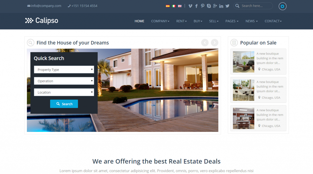 Calipso Responsive Real Estate Theme