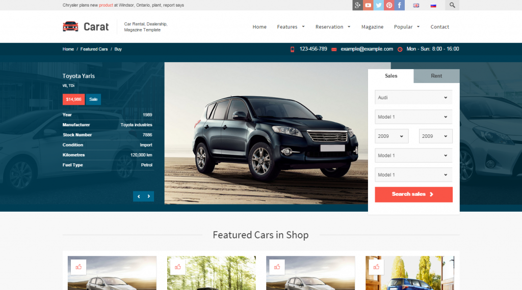 Carat Responsive Automotive HTML Template