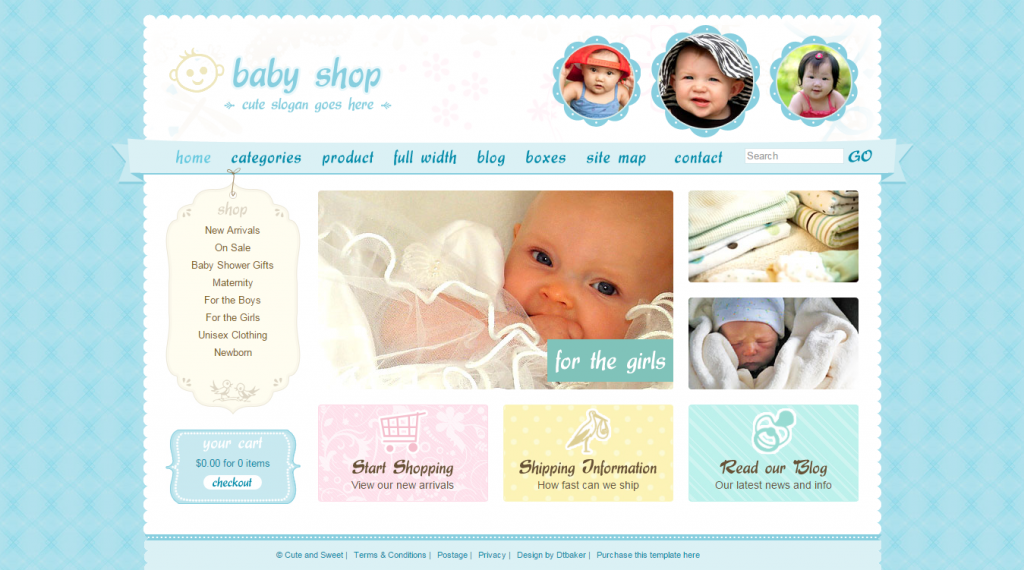 Cute & Sweet 3 Color HTML & PHP Shopping Cart